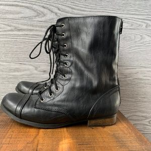 Cherokee Combat Black Lace Up Boots